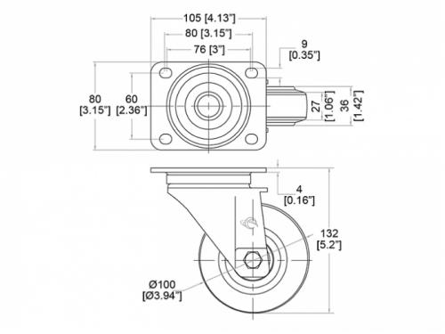 Ruota Pivot 100 mm - Freno